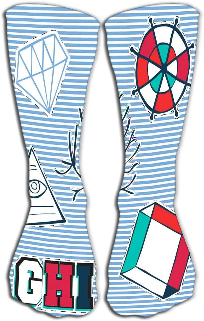 Thin High Socks 19.7(50cm) High Graduated Compression Long Socks For Mens Women And Girls patch badge print design fashion vintage stamp printing applique labels jeans casual wear diamond tree