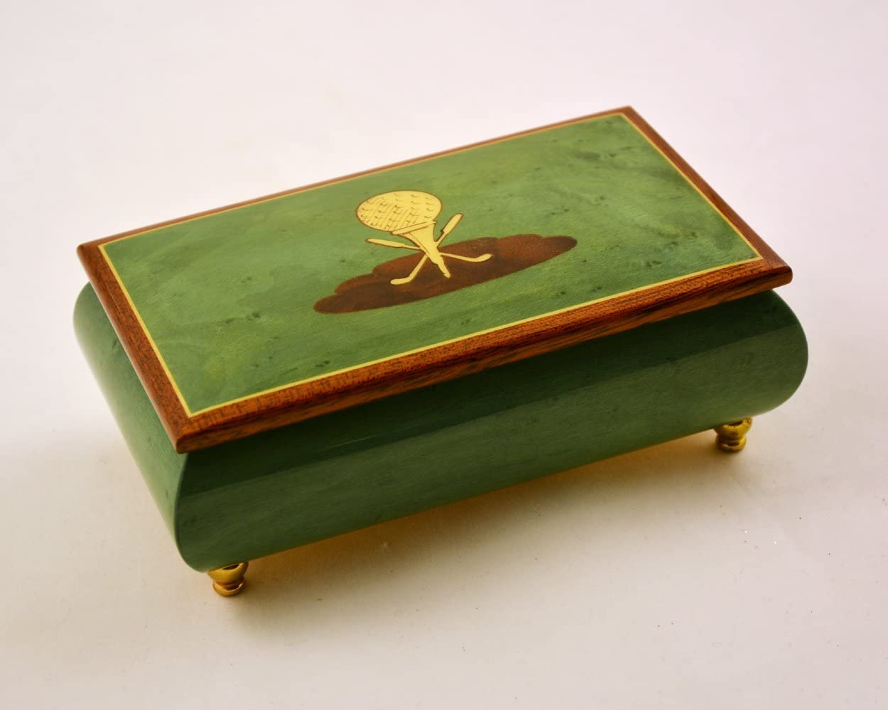 Made in Italy Sorrento Inlaid Green High Gloss Golf Theme Jewejry Box - The Rose (Sankyo 18-Notes)