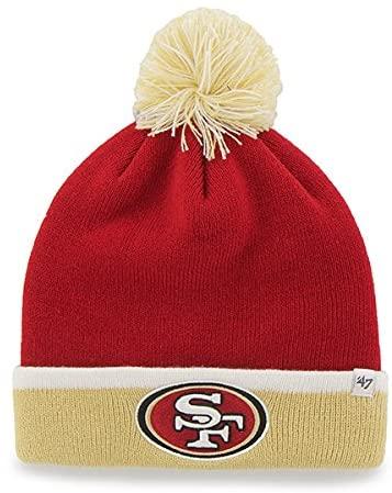 '47 Brand 2-Tone Cuff Baraka Beanie Hat with Pom Pom - NFL Cuffed Winter Knit Toque Cap