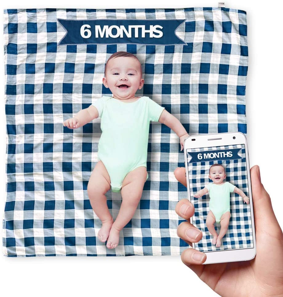 TopHat Double Sided Baby Muslin Blankets for Boys or Girls (47 x 47 Inch) Includes Baby Milestone Accessories (Yearly, Weekly, Monthly) and Matching Baby Bib - Available in Blue or Pink (Blue)