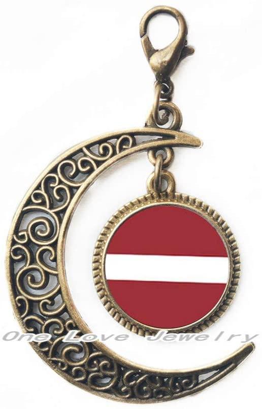 Ni36uo0qitian0ozaap Latvia Flag Lobster Clasp,Flag Jewelry,Flag Moon Zipper Pull,TAP257