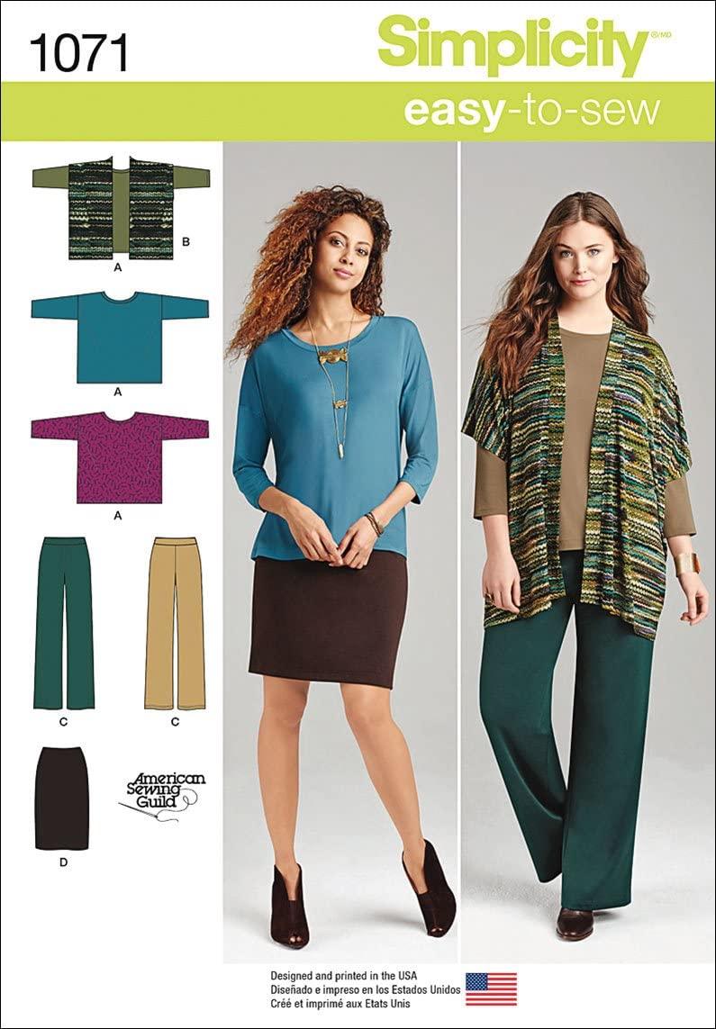 Simplicity 1071 Miss & Plus Size Knit Sportswear Sewing Template, Size BB (M-L-XL-XXL)