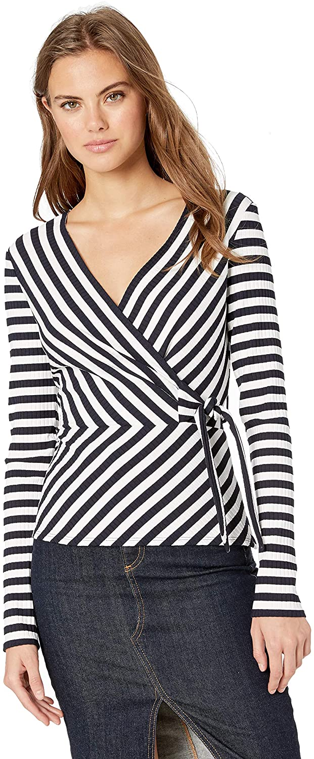 Bailey 44 Women's Toe The Line Rib Stripe Faux Wrap Top
