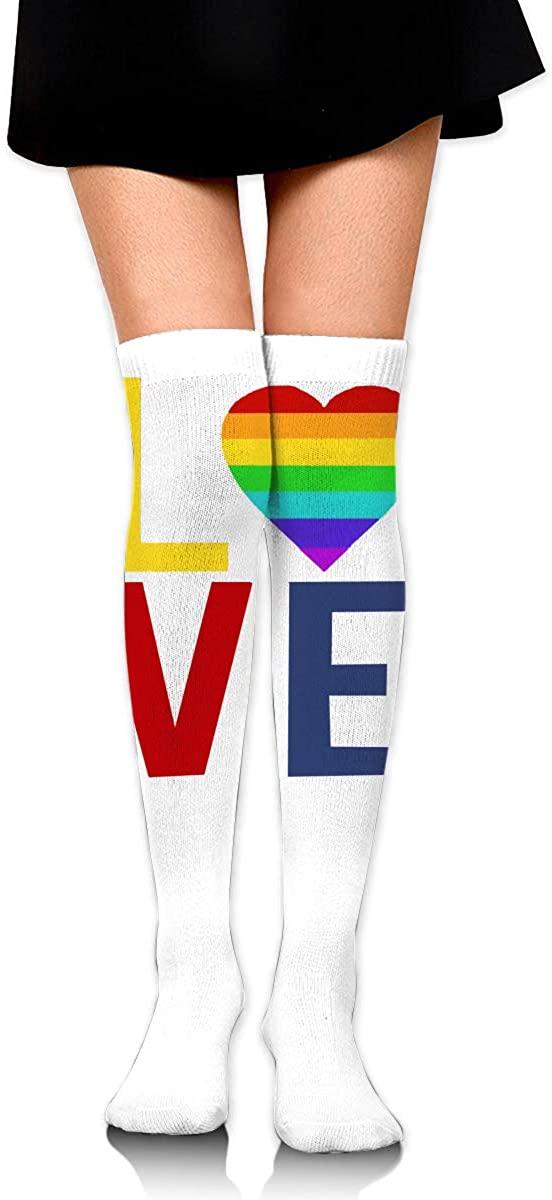 Knee High Socks LGBT Gay Pride Love Womens Athletic Over Thigh Long Stockings