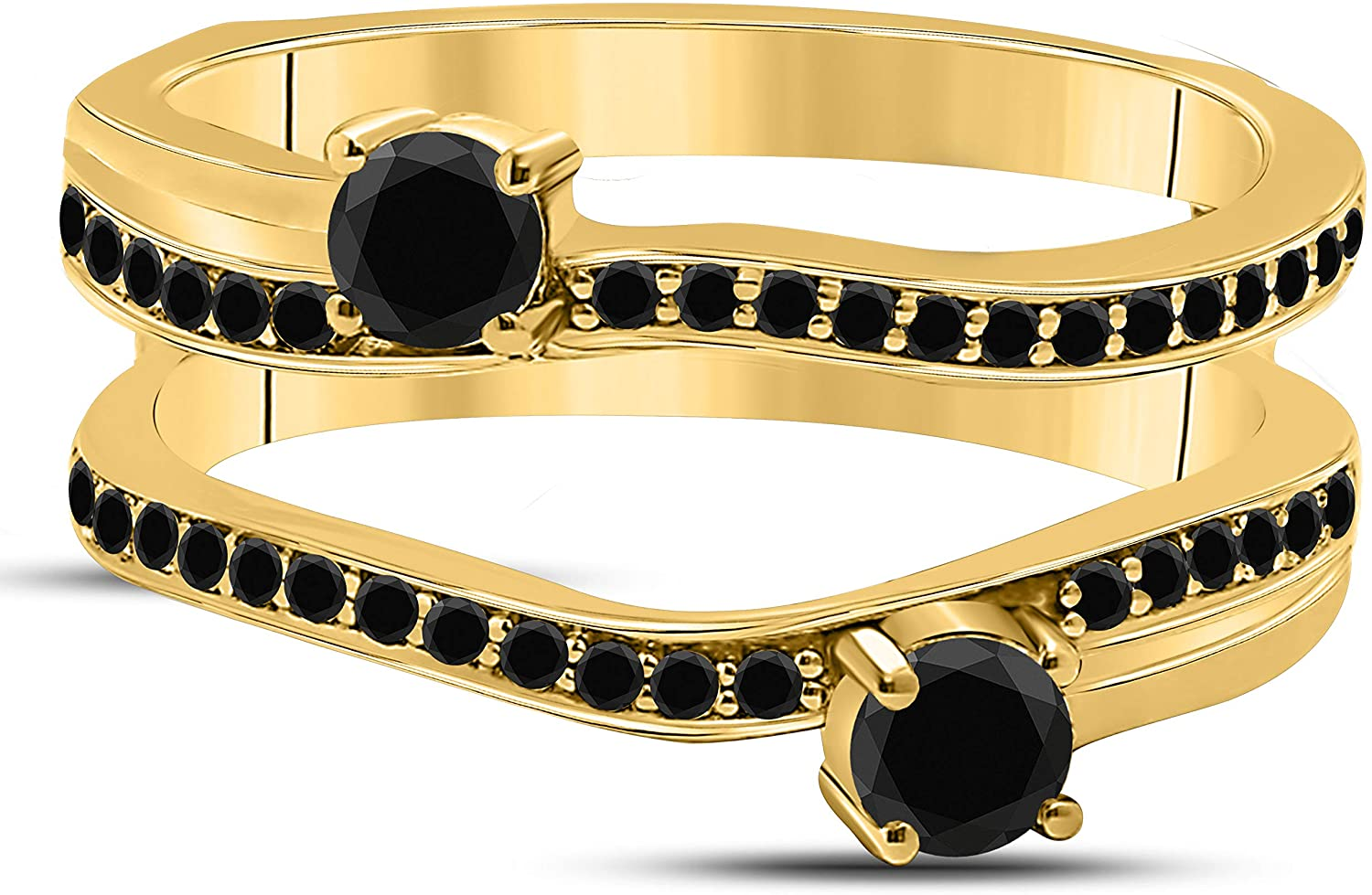 DS Jewels 14k Yellow Gold Plated Alloy Two Stone Prong Set Round Forever US Enhancer Ring Guard with CZ Black Sapphire (0.58 ct. tw.)