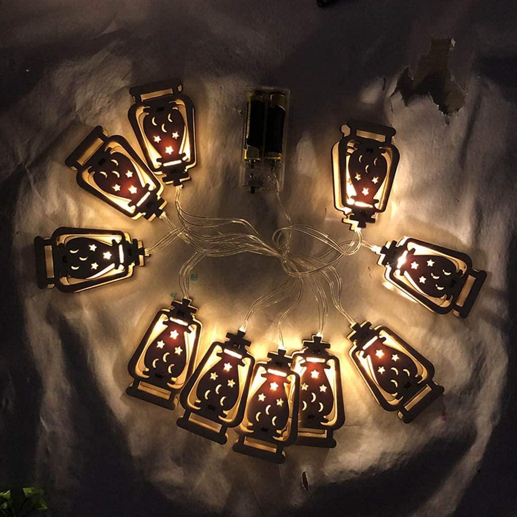 minansostey Festival Eid Mubarak Element Handmade Wire 10 LED Light String Eid Ramadan Decor