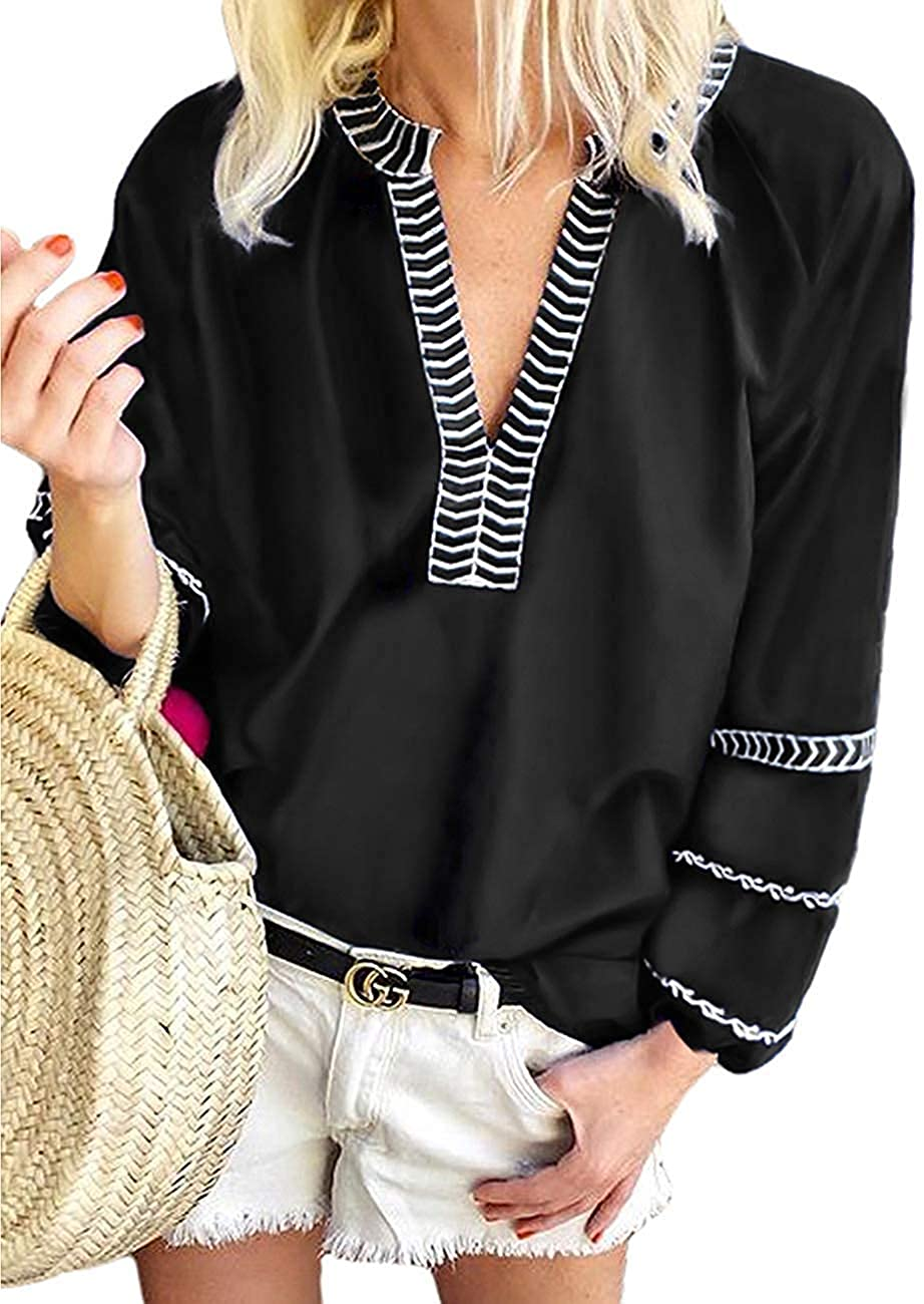 MISSLOOK Womens Long Sleeve Boho Tops V Neck Loose Blouses Casual T Shirts