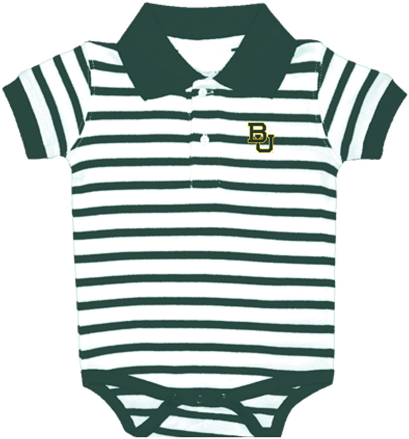Baylor Bears NCAA College Newborn Infant Baby Striped Polo Creeper (12 Months)