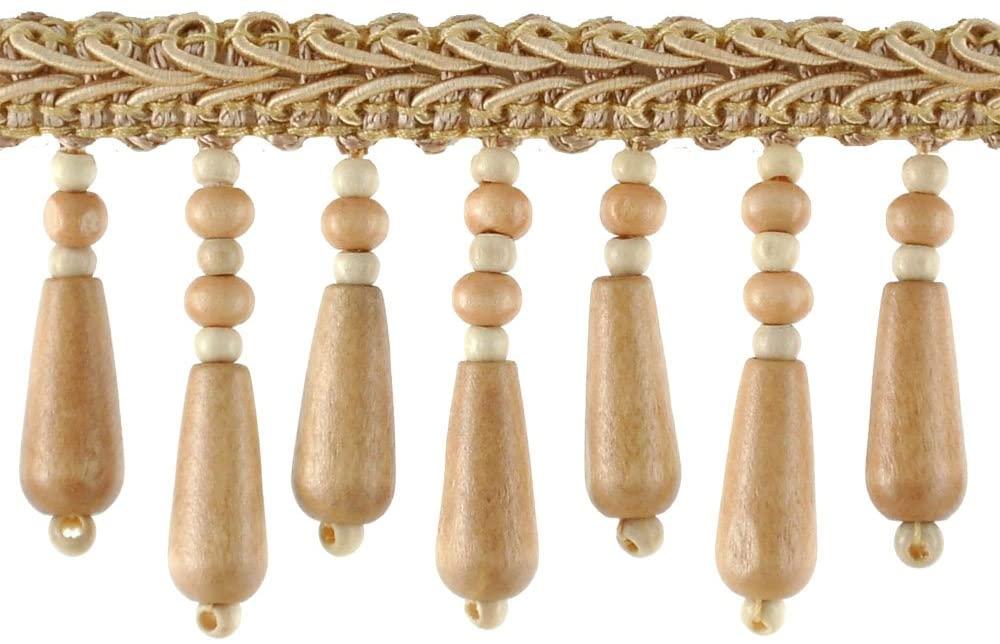 Beaded Trim BB-937-18 2-Inch Wood Bead Trim with 1/4-Inch Braid, 10-Yard Roll, Tawny