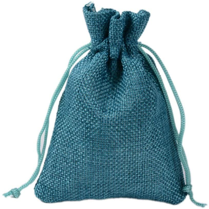 Xihouxian 100 Gift Bags - Monochrome Linen Yarn Bag, Drawstring Opening, Wedding/Makeup Bag, Small Gift Bag Gift Bag and Tissue (Color : Bule, Size : 13x18cm)