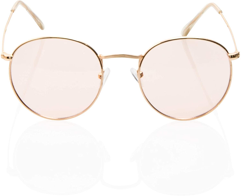 90s Hipster Lightweight Round Color Transparent Lens UV 400 Sunglasses for Women Men Unisex