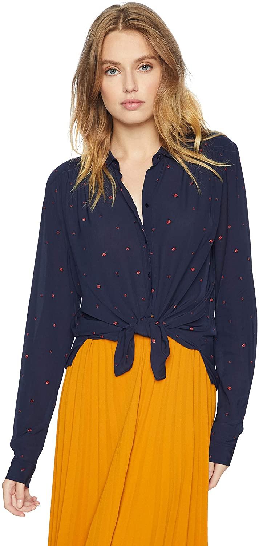 Joie Womens Brenta Long Sleeve Printed Blouse