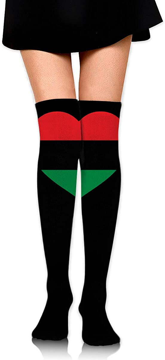 Knee High Socks Pan-African Flag Heart Women's Athletic Over Thigh Long Stockings