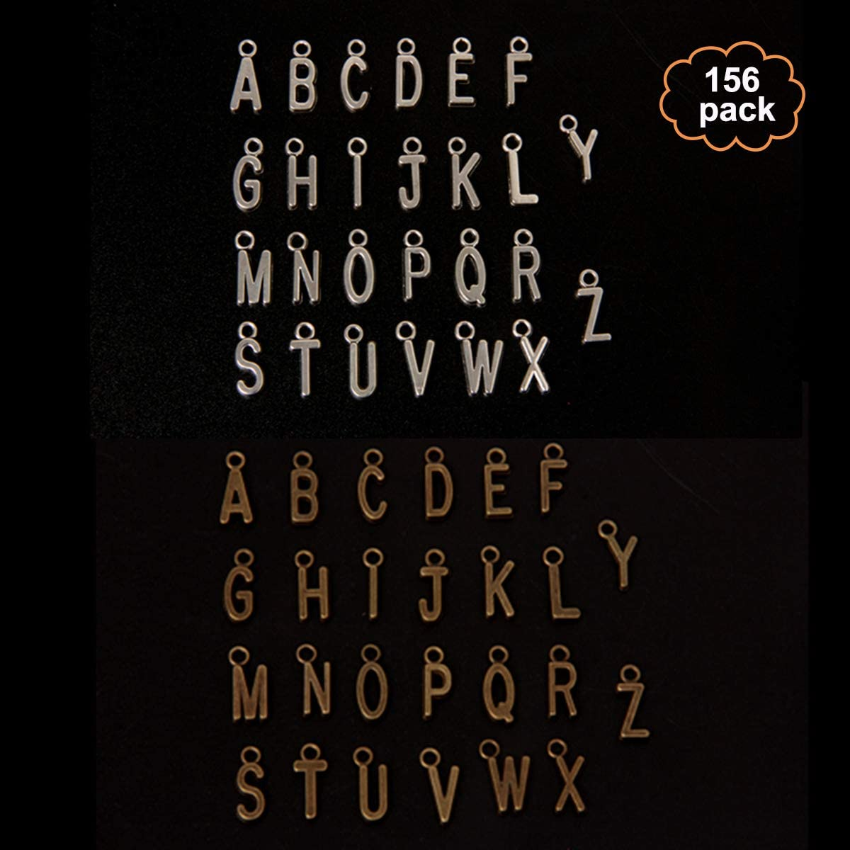 yalansmaiP 156pcs/6Set Alphabet A-Z Letter Charms Pendant Loose Beads Set Alphabetic Letter Pendants for Jewelry Making (3 Set Silver, 3 Set Bronze)