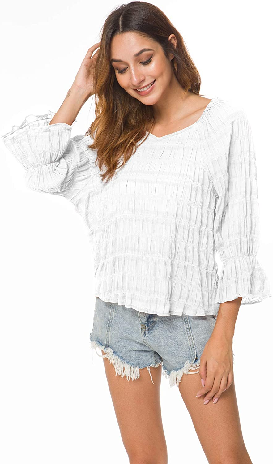 Women's V Neck 3/4 Bell Sleeve Pleated Blouse Casual Loose Top Shirts