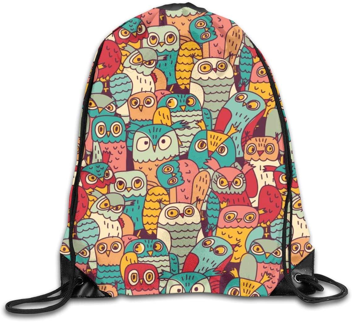 Bundle Backpacks Gym Drawstring Bags Funny Owls Birds Casual Women Men School Bag Training Daypack Yoga Pouch