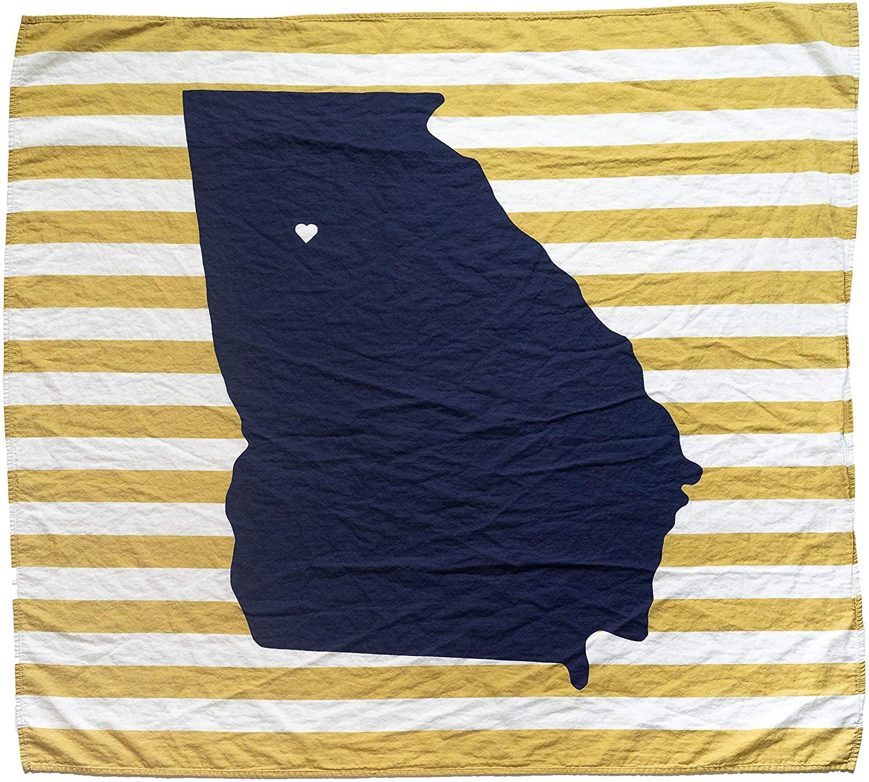 TWIG & BALE Atlanta Georgia Tech Baby Blanket Organic Cotton Muslin Swaddle Blanket - 47
