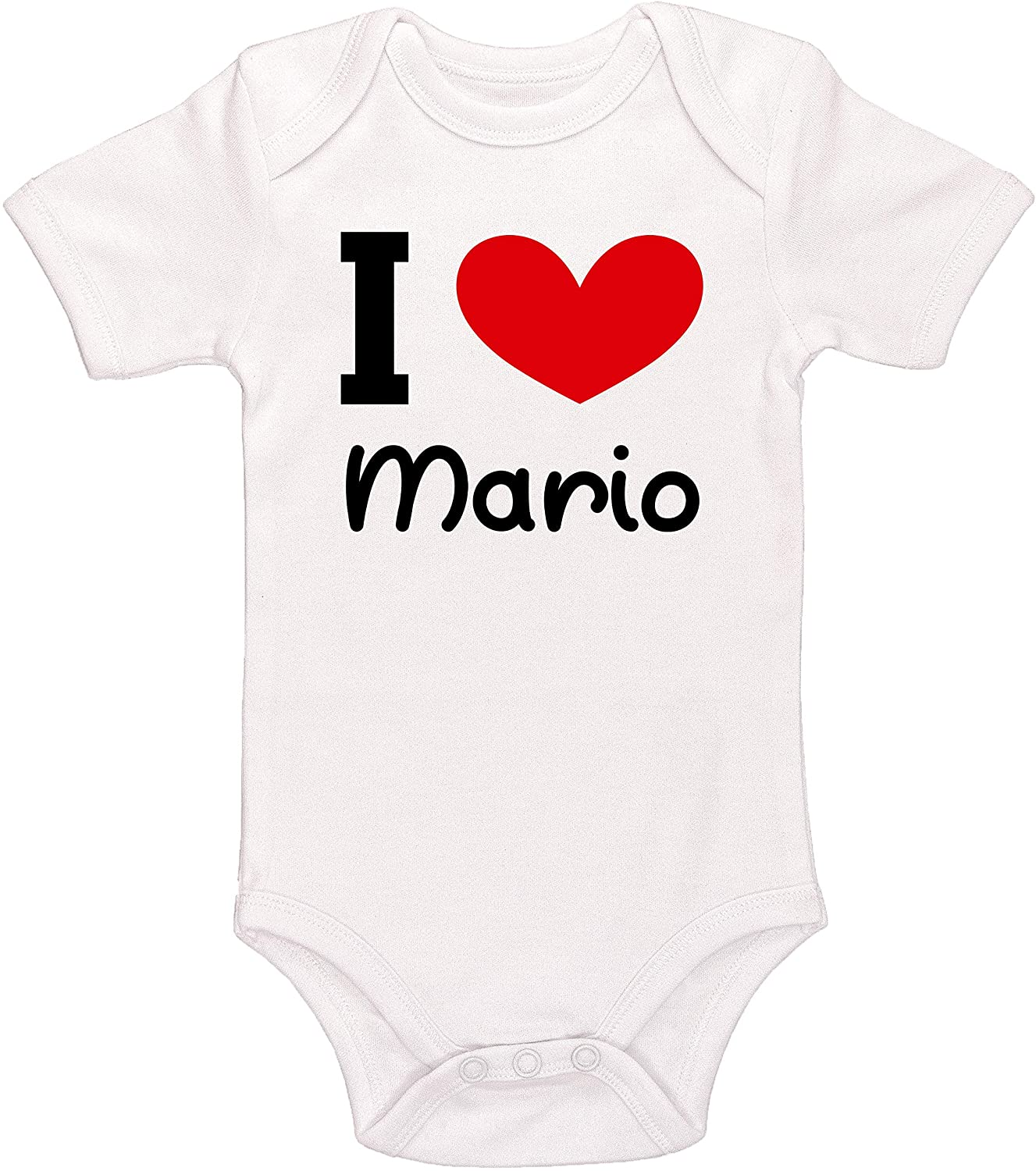 Kinacle I Love Mario Personalized Baby Bodysuit