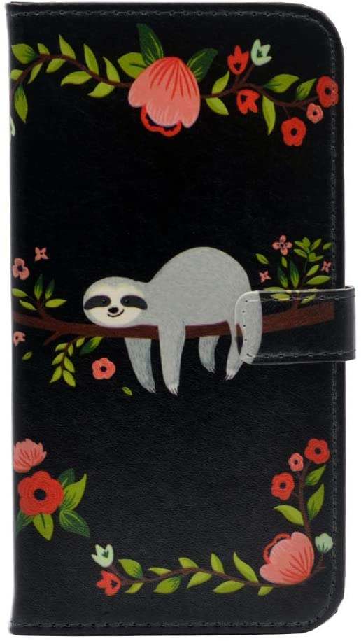 TPACC-C iPhone 11 Pro Max Case (2019) Cute Sloth Pattern Leather Wallet Case Stand Cover with Card Slots for iPhone 11 Pro Max Case (2019)