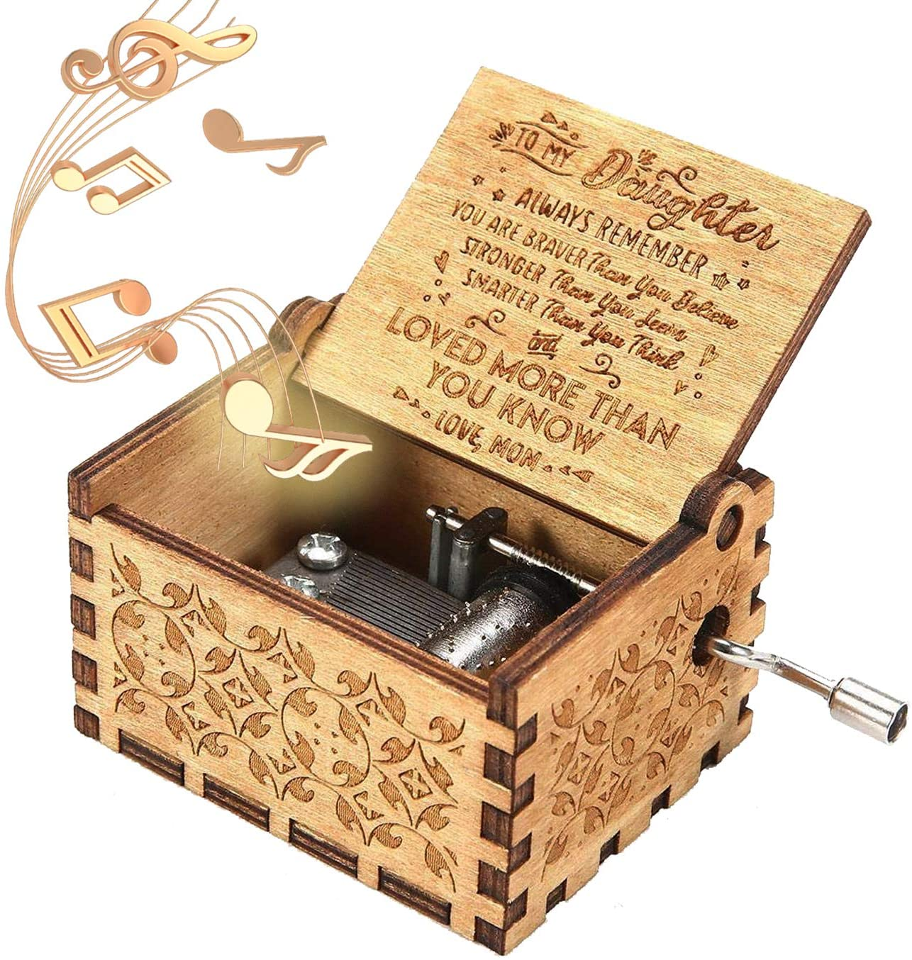 ukebobo Wooden Music Box – You are My Sunshine Music Box, Gifts from Mom to Daughter- 1 Set
