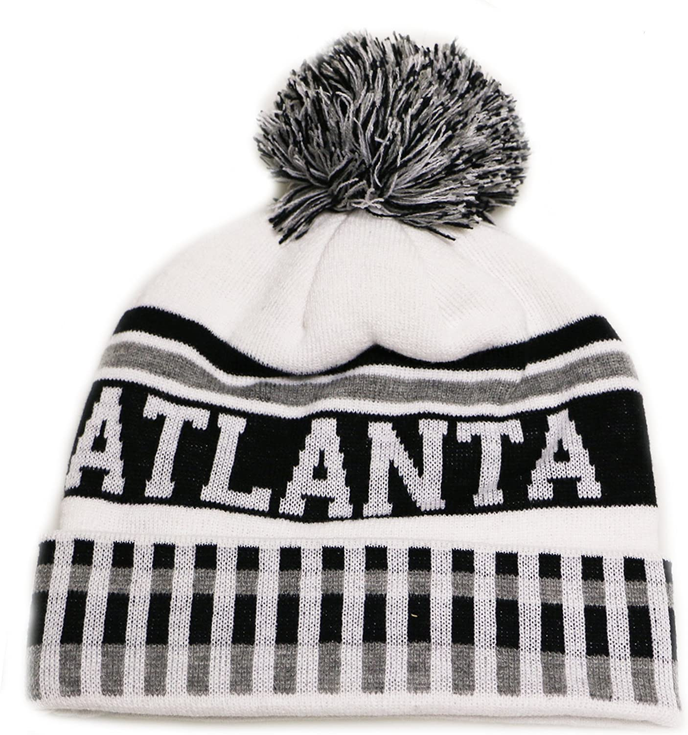 City Hunter Sk1120 Atlanta Vertical Pattern Pom Pom Beanie Hat - White/black
