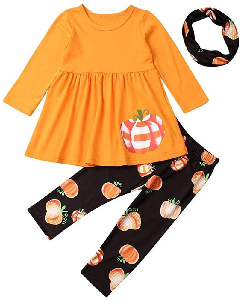 Toddler Baby Girls Halloween Pants Set Long Sleeve Tutu Dress Shirt Top Pumpkin/Ghost Print Trouser Winter Clothes Outfit Set