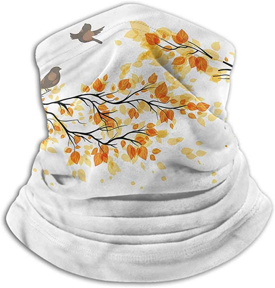 Neck Gaiters For Men Fall Neck Gaiter Sunblock Face Scarf Flying Birds and Leaves 10 x 12 Inch