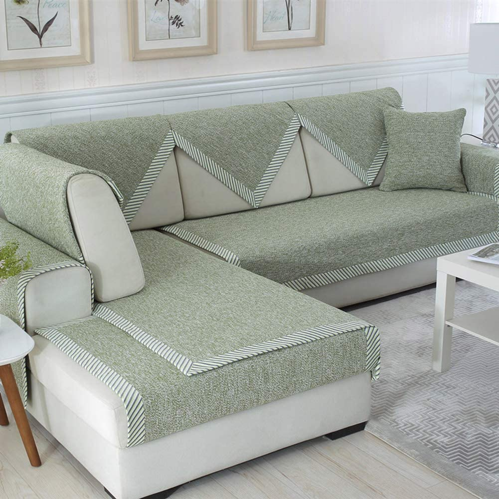 HOMRanger Thicken Cotton Linen Sofa Cover,Breathable Non-Slip Knitted Sofa Slipcover Decoration Combination Furniture Protector Couch Cover Green 70x150cm(28x59inch)