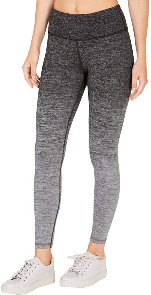 Ideology Womens Heathered Stretch Athletic Leggings Grey Size Large