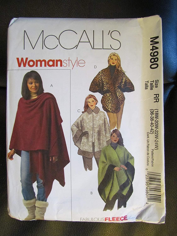 McCall's M4980 Capes Size RR (18W-20W-22W-24W)