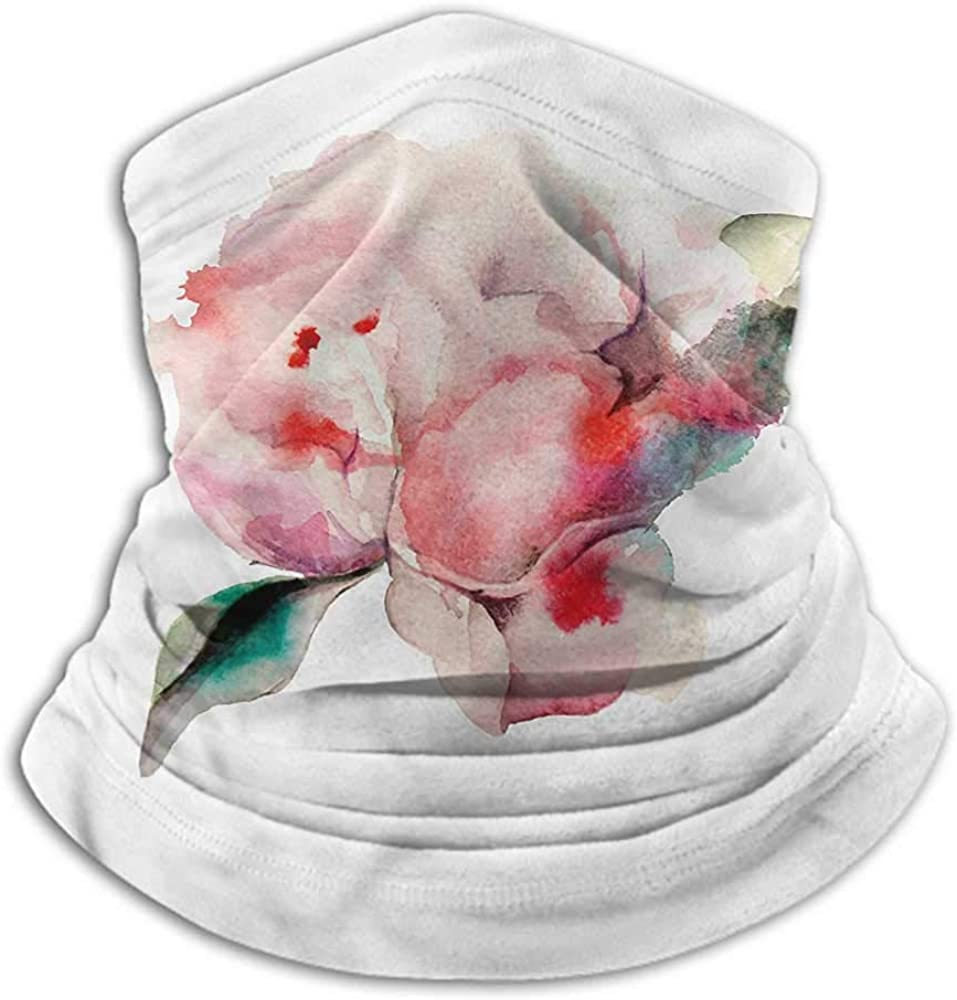 Bandanas For Men Peach Winter Neck Gaiter Watercolor Penoies Nature 10 x 12 Inch