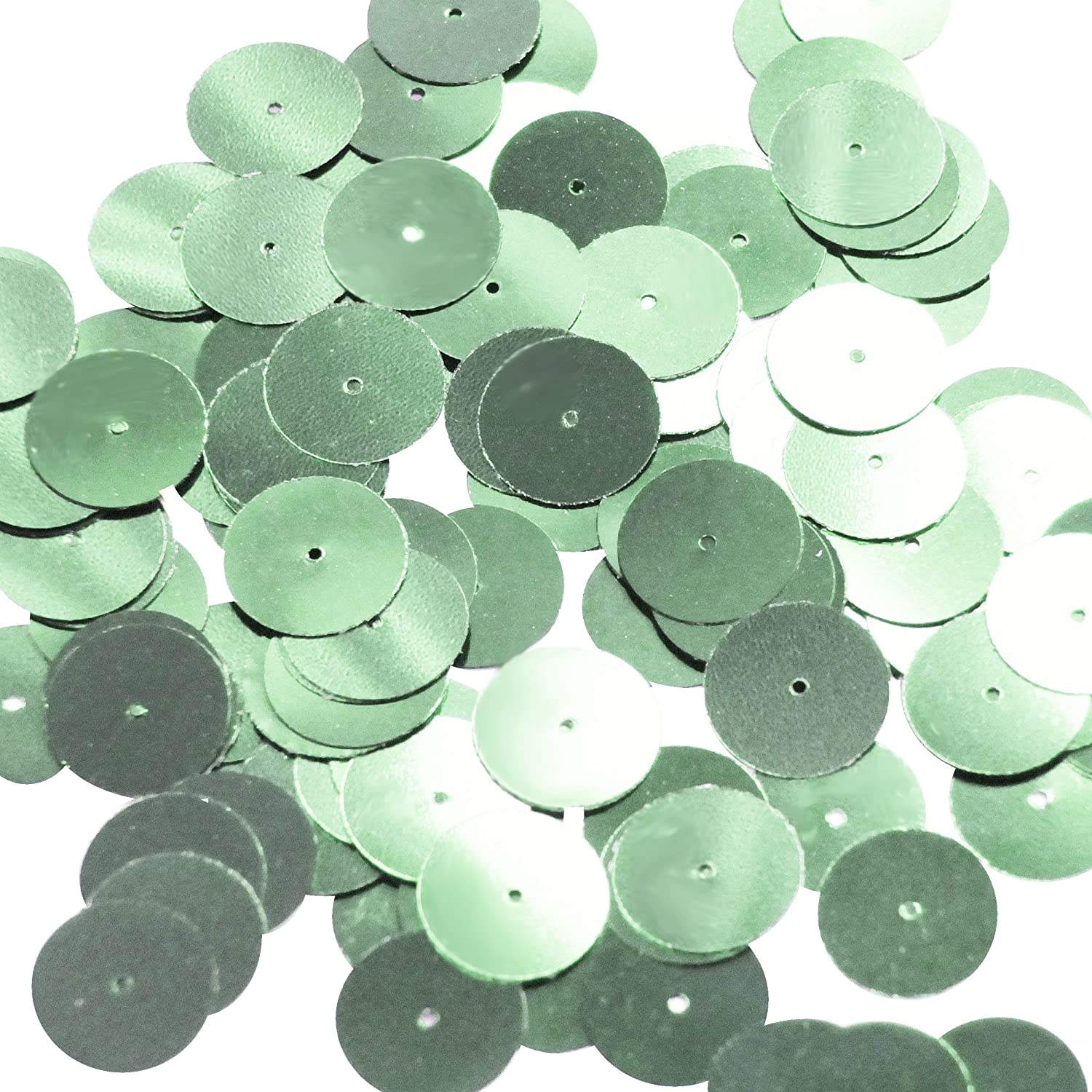 Round Sequin 15mm Pale Green Metallic Couture Paillettes