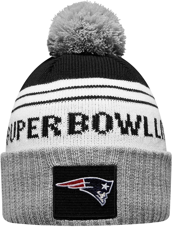 New Era New England Patriots Super Bowl LIII Bound Striped Knit Hat - White/Gray