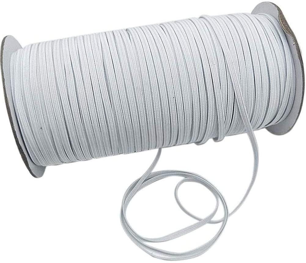 White 70-Yards Length 1/4 Width Braided Elastic Cord/Elastic Band/Elastic Rope/Bungee/White Heavy Stretch Knit Elastic Spool (White)