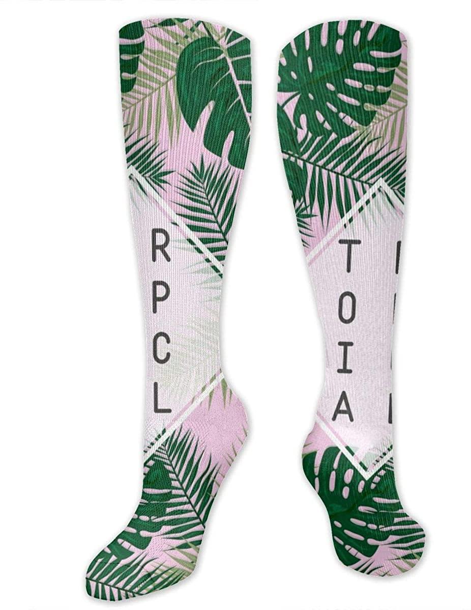 Men Women Knee High Socks Tropical Green Leaves Pink Crew Hose Thigh Stockings