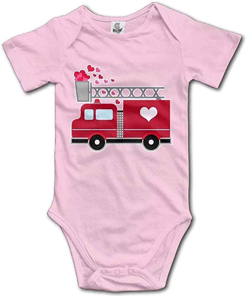 FOEVERLTF Babys Fire Car Heart Baby Boy Girl Onesie Bodysuit Jumpsuit Short Sleeve Romper