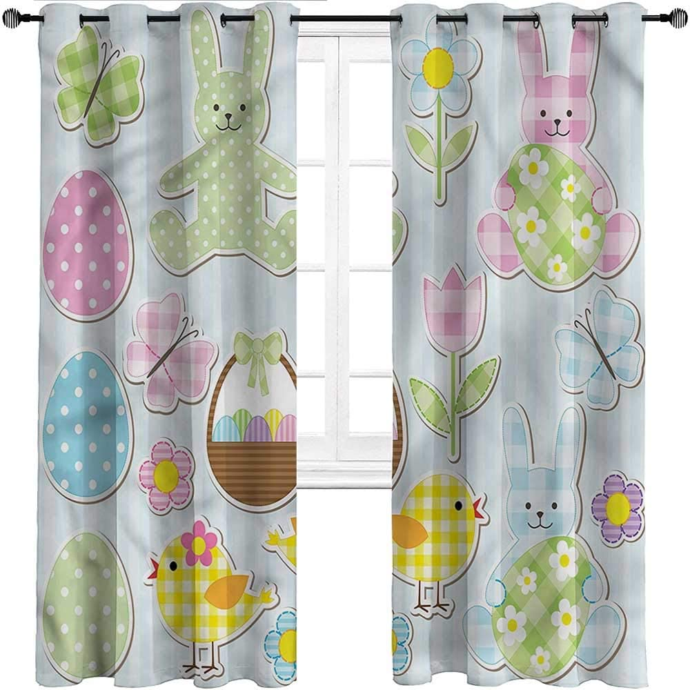 GugeABC Nursery Curtains Easter Grommet Drapes for Patio Pergola Porch Deck Pale Nursery Bunnies,Set of 2 Panels, 55 Width x 45 Length