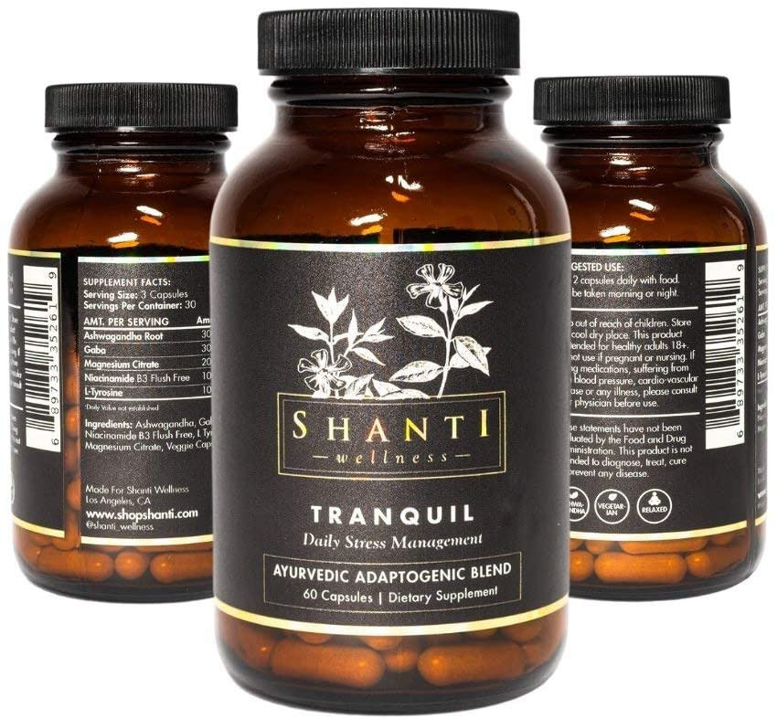 Tranquil - Ayurvedic Capsules for Stress Relief, Anxiety Support, Adaptogens for Mood Support, Vegan Capsules, 60 Count