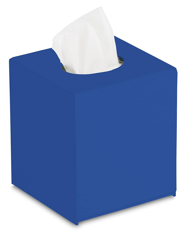 TrippNT 51681 Global Blue PVC Plastic Countertop Cube Kleenex Box Holder, 5 Width x 6 Height x 5 Depth
