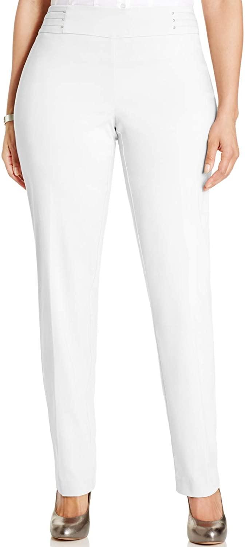 JM Collection Plus & Petite Plus Size Tummy Control Slim-Leg Pants Bright White Size 18P