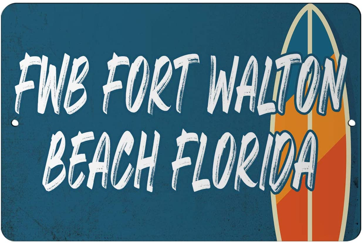 Makoroni - Fwb Fort Walton Beach Florida Surf Beach Design 12x18 inc Aluminum Decorative Wall Street Sign