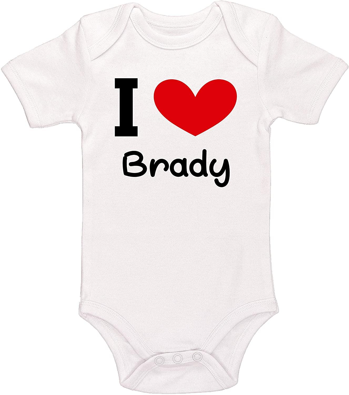 Kinacle I Love Brady Personalized Baby Bodysuit
