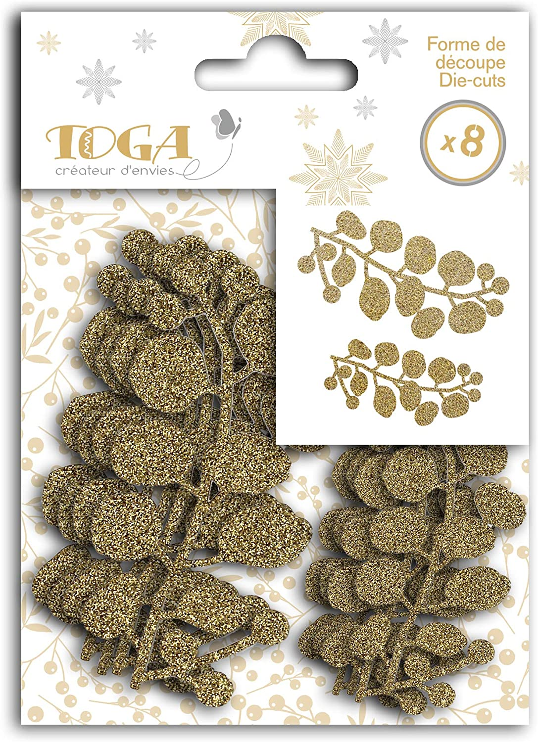 Toga Gold de Bombay Silver Cut-Out Berry Shapes, One Size