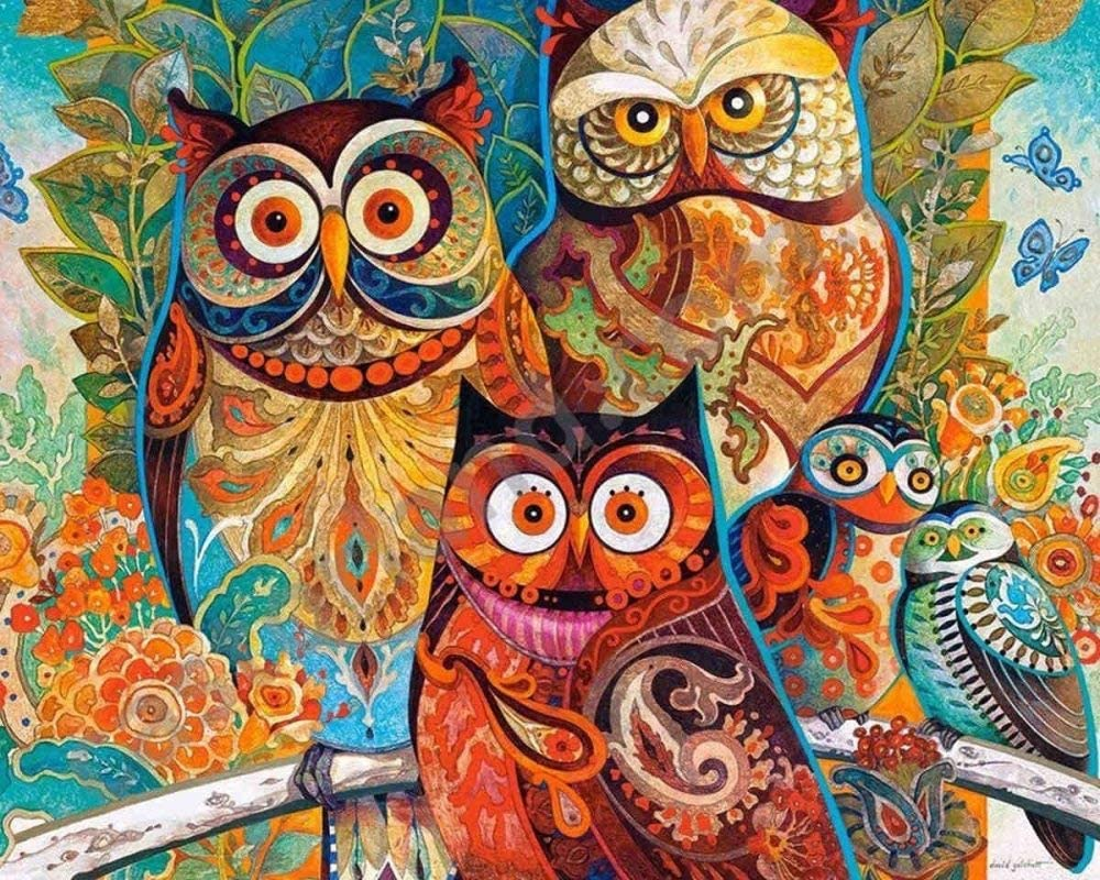 DCPPCPD 5D DIY Diamond Painting, Three Owls with Modern Colorful Animals Kits for Adults Full Drill Crystal Rhinestone Embroidery Cross Stitch Arts Craft Canvas
