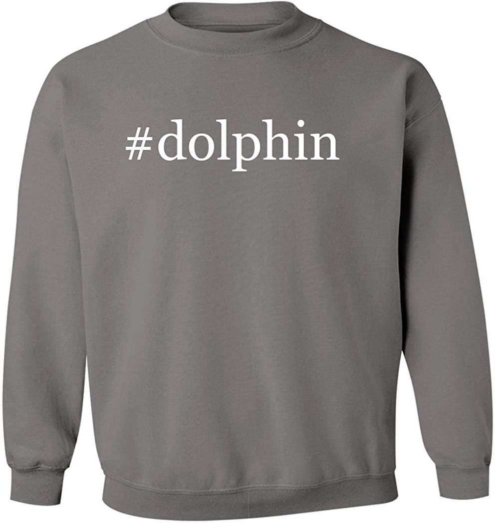#dolphin - Men's Hashtag Pullover Crewneck Sweatshirt, Grey, Medium