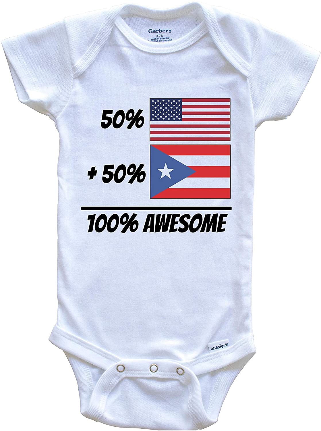50% American Plus 50% Puerto Rican Equals 100% Awesome Cute Puerto Rico Flag Baby Onesie