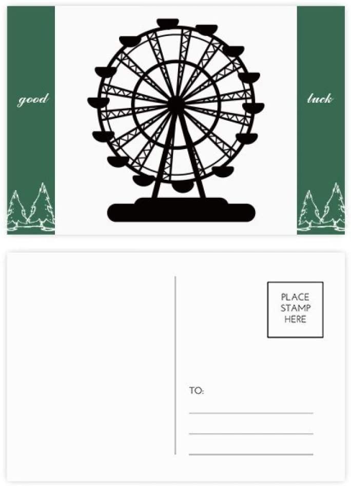 Black Ferris Wheel Amusement Park Silhouette Good Luck Postcard Set Card Mailing Side 20pcs