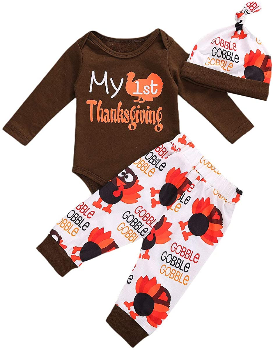 Newborn Baby Boy Girl My First Thanksgiving Outfit Long Sleeve Romper Turkey Pants Hat 3Pcs Infant Clothes Set