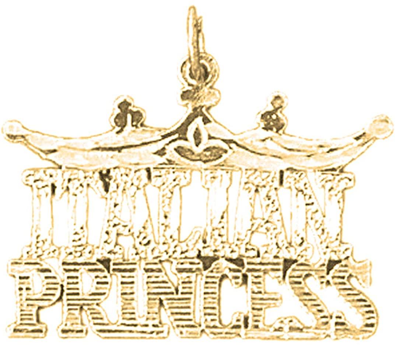 Jewels Obsession Silver Italian Princess Pendant | 14K Yellow Gold-plated 925 Silver Italian Princess Pendant