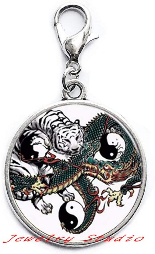 Yinyang Tiger Zipper Pull Tiger Jewelry Zipper Pull Wearable Art Lobster Clasp Charm Tiger Lobster Clasp Christmas Gift, Tiger Jewelry Gift for Her, Tigers Fan Jewelry, Tiger Fan Gift-HZ0111
